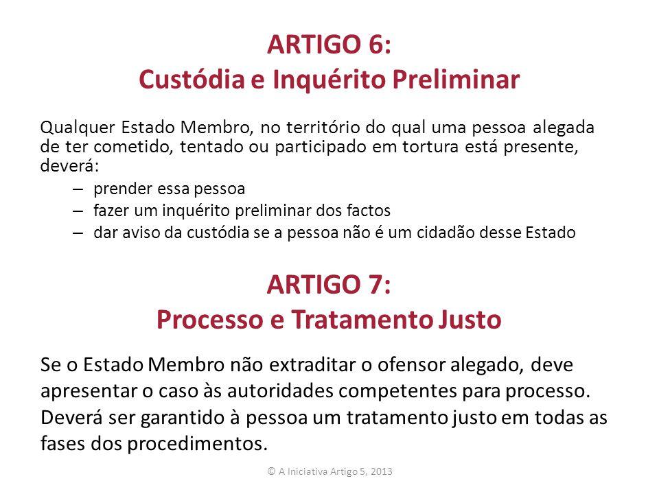 ARTIGO 6: Custódia e Inquérito Preliminar