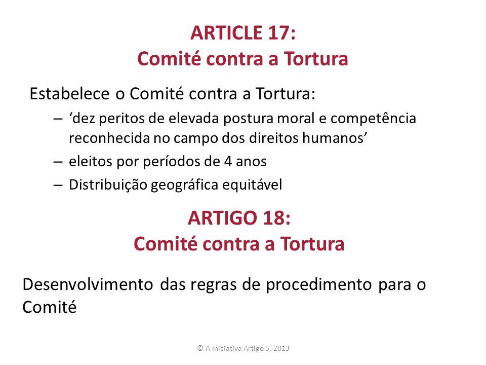 ARTICLE 17: Comité contra a Tortura