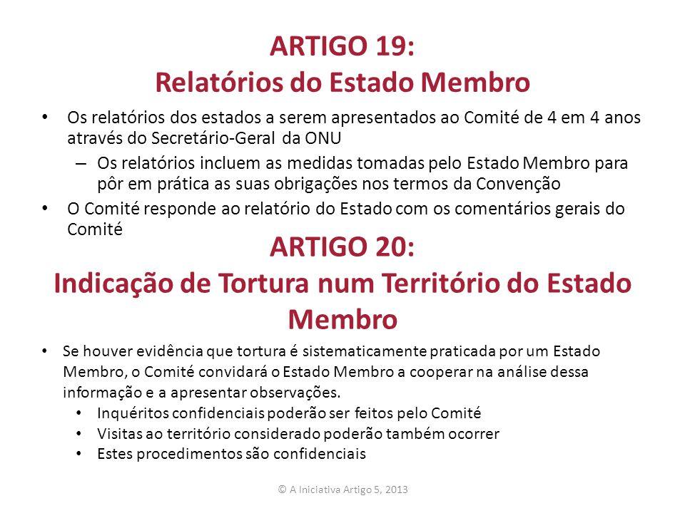 ARTIGO 19: Relatórios do Estado Membro