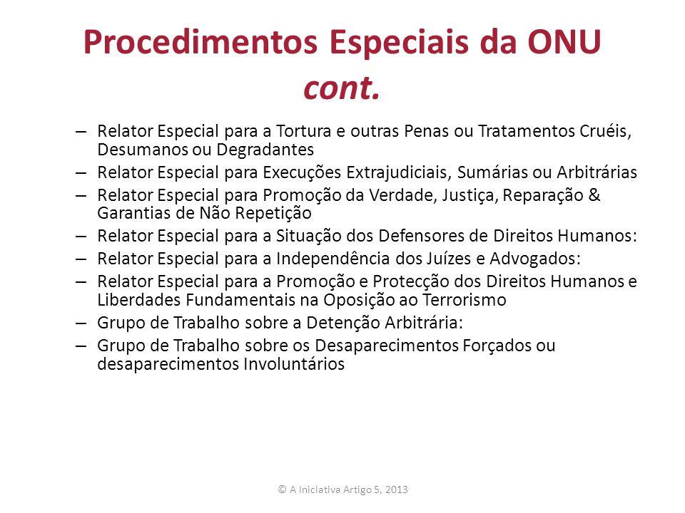 Procedimentos Especiais da ONU cont.