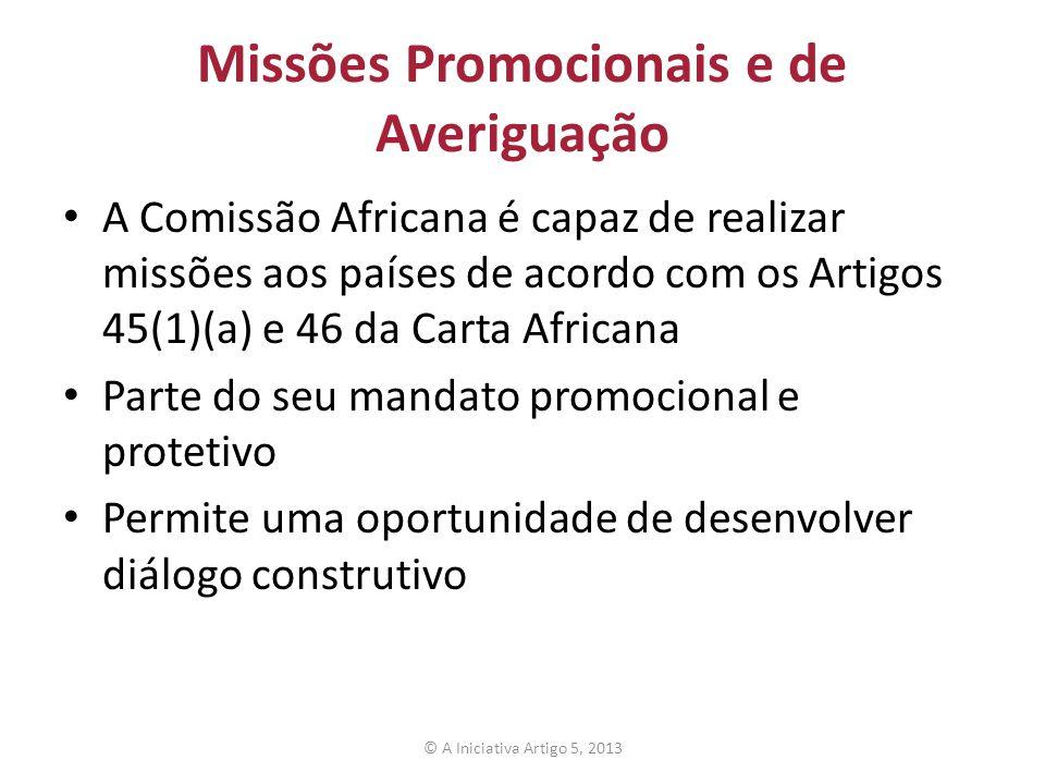Missões Promocionais e de Averiguação