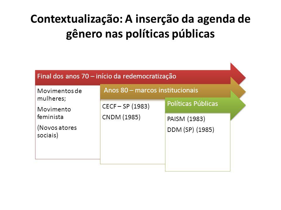 Contextualização: A inserção da agenda de gênero nas políticas públicas