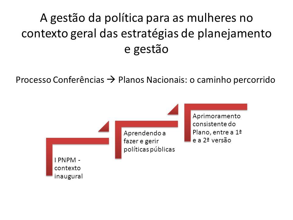 A gestão da política para as mulheres no contexto geral das estratégias de planejamento e gestão