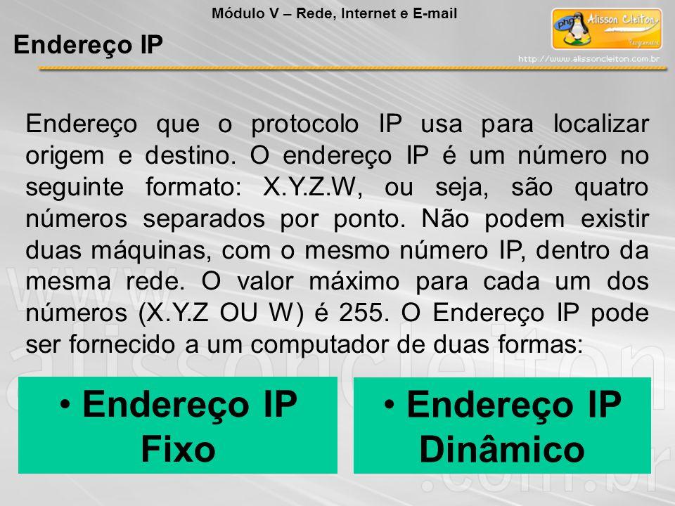 • Endereço IP Fixo • Endereço IP Dinâmico Endereço IP