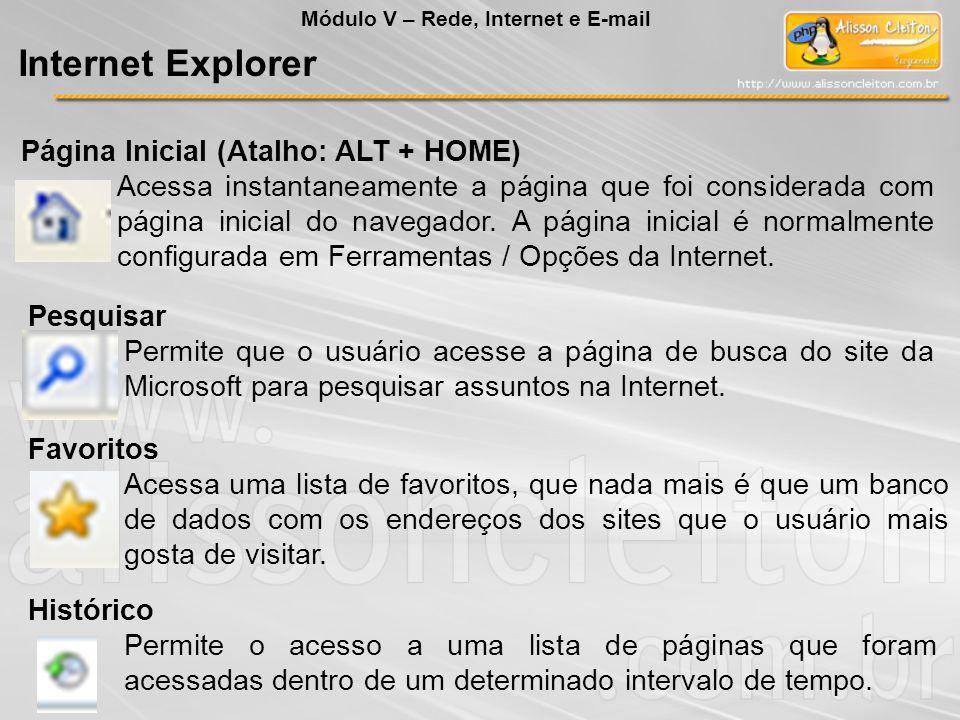 Internet Explorer Página Inicial (Atalho: ALT + HOME)
