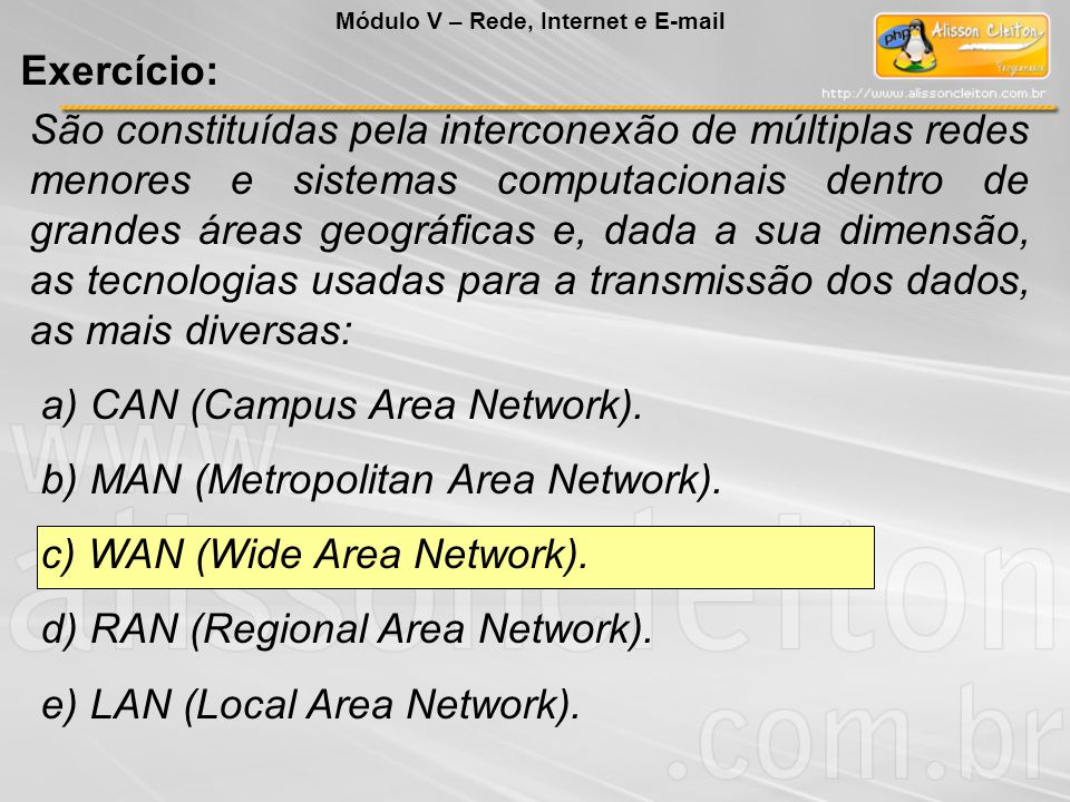 a) CAN (Campus Area Network). b) MAN (Metropolitan Area Network).