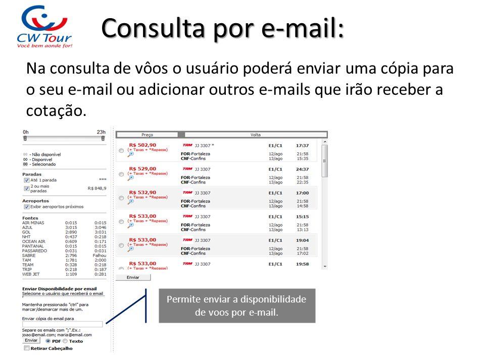 Permite enviar a disponibilidade de voos por e-mail.
