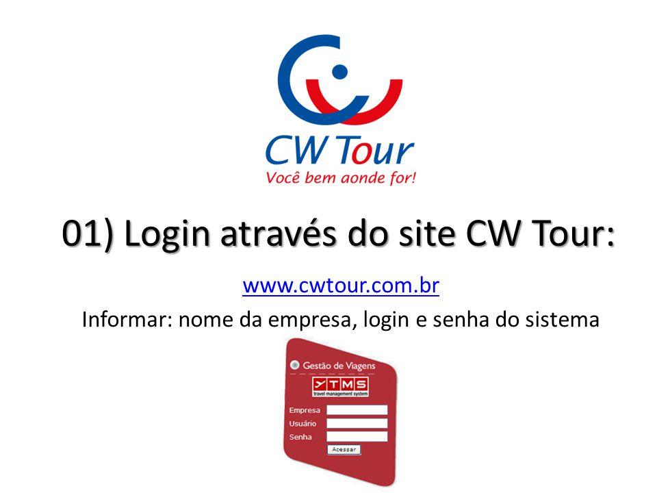 01) Login através do site CW Tour: