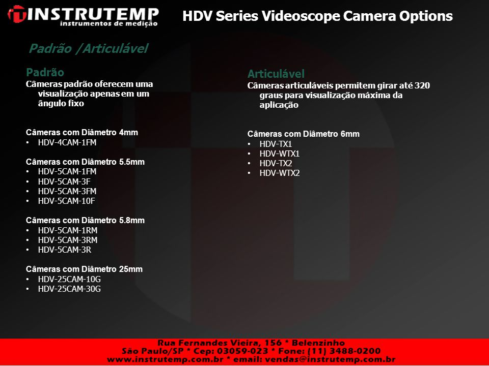 HDV Series Videoscope Camera Options
