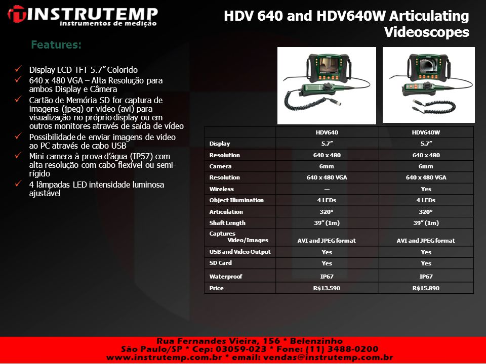 HDV 640 and HDV640W Articulating Videoscopes