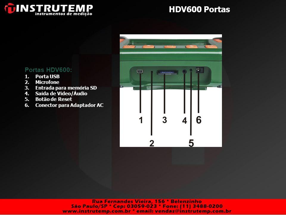 HDV600 Portas Portas HDV600: Porta USB Microfone