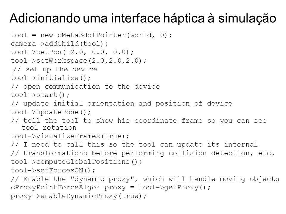 Adicionando uma interface háptica à simulação