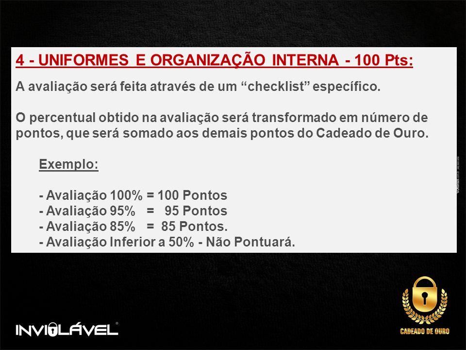 4 - UNIFORMES E ORGANIZAÇÃO INTERNA - 100 Pts: