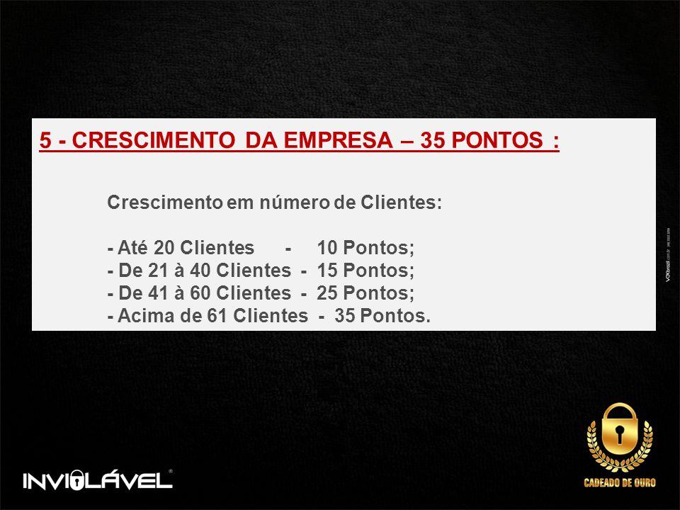 5 - CRESCIMENTO DA EMPRESA – 35 PONTOS :