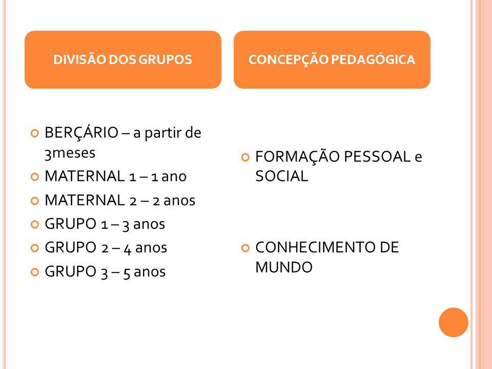 BERÇÁRIO – a partir de 3meses MATERNAL 1 – 1 ano MATERNAL 2 – 2 anos