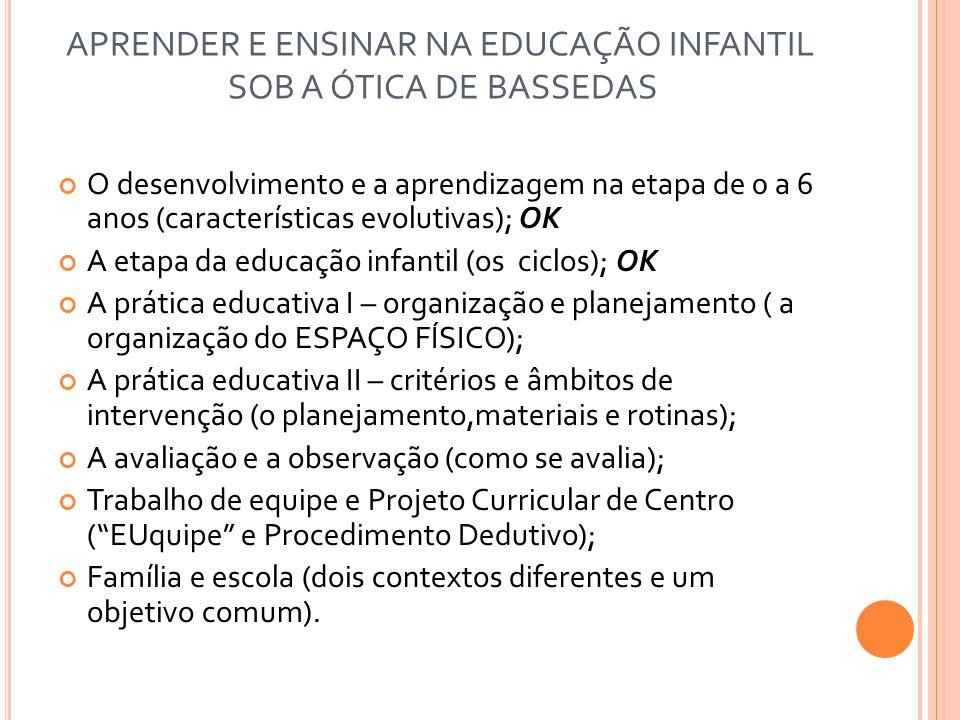 APRENDER E ENSINAR NA EDUCAÇÃO INFANTIL SOB A ÓTICA DE BASSEDAS