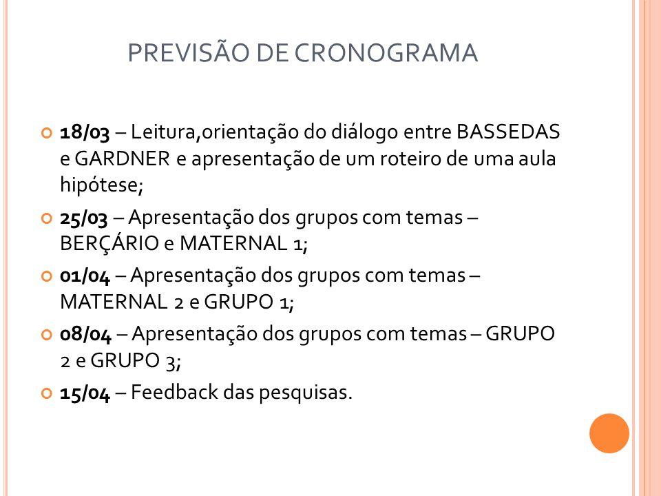 PREVISÃO DE CRONOGRAMA