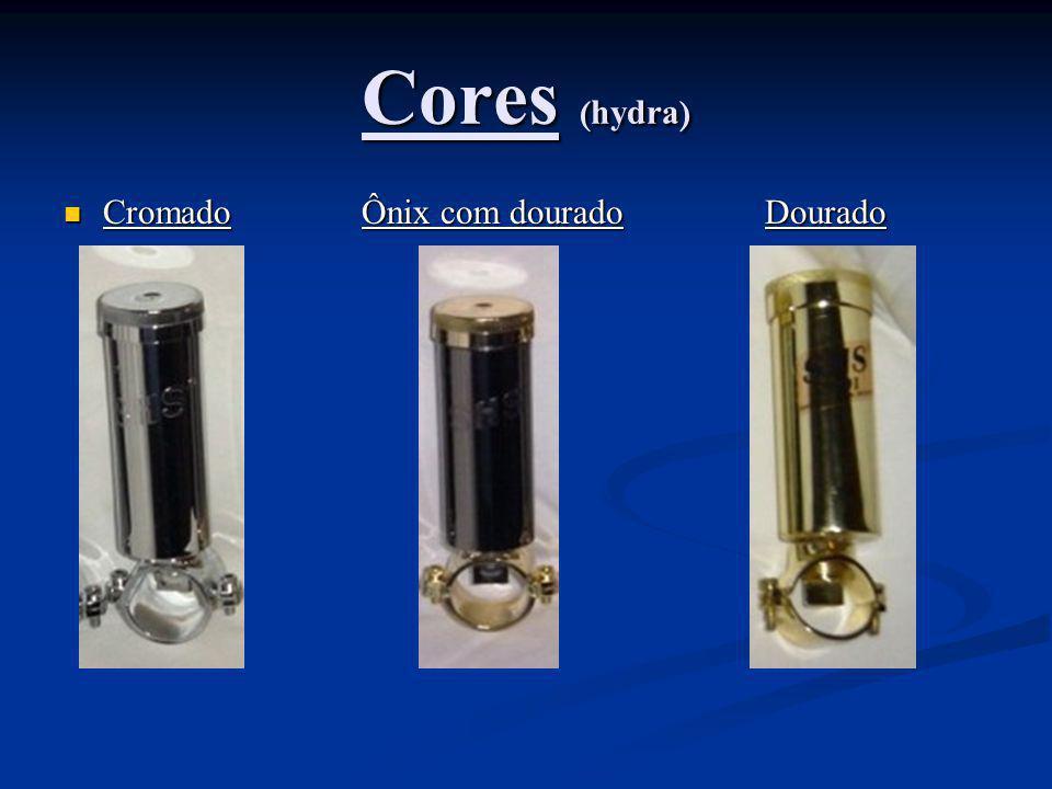 Cores (hydra) Cromado Ônix com dourado Dourado