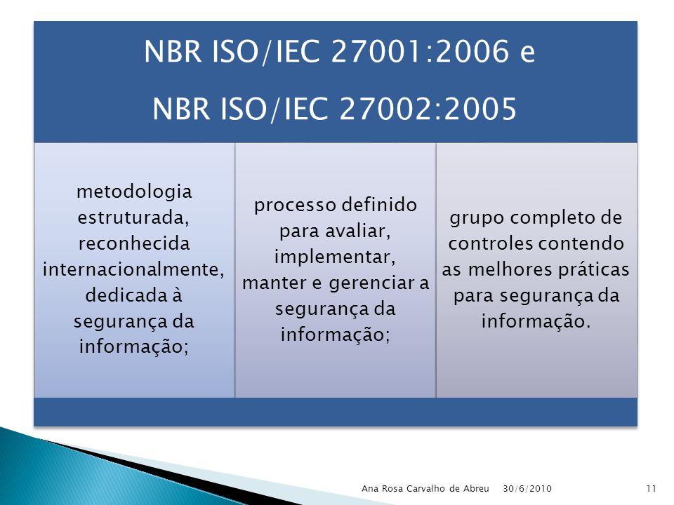 NBR ISO/IEC 27001:2006 e NBR ISO/IEC 27002:2005