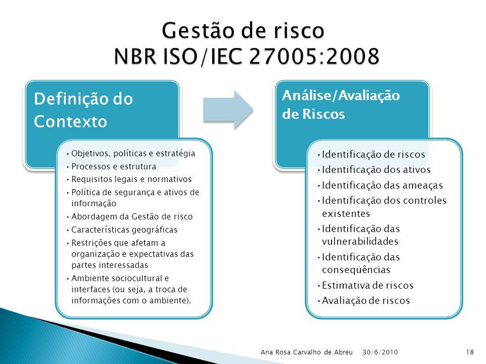 Gestão de risco NBR ISO/IEC 27005:2008