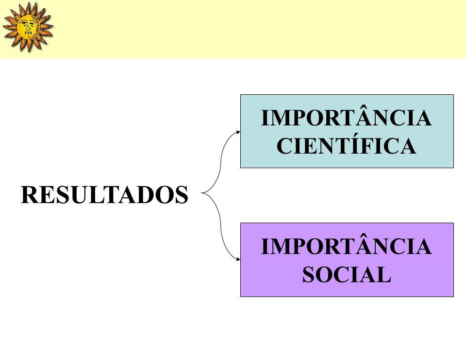IMPORTÂNCIA CIENTÍFICA RESULTADOS IMPORTÂNCIA SOCIAL