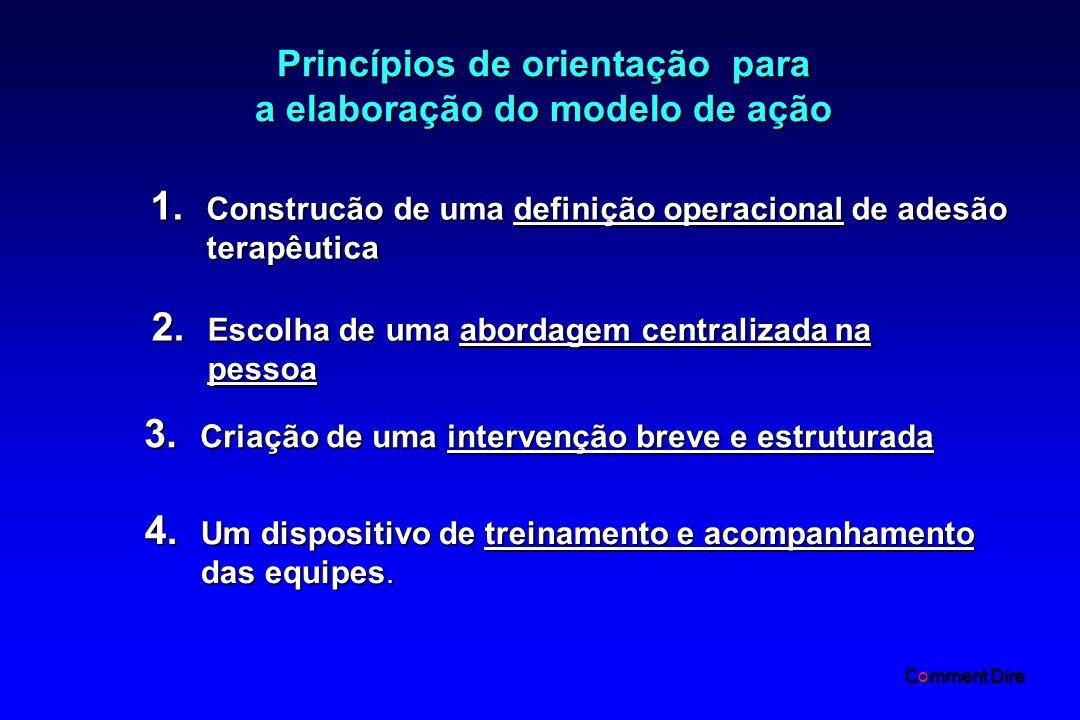 Princípios de orientação para a elaboração do modelo de ação