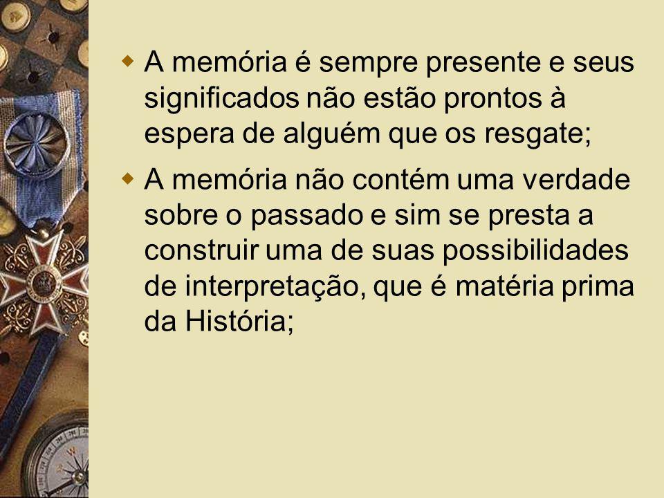 A memória é sempre presente e seus significados não estão prontos à espera de alguém que os resgate;