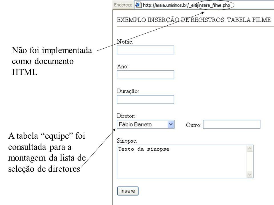 Não foi implementada como documento HTML