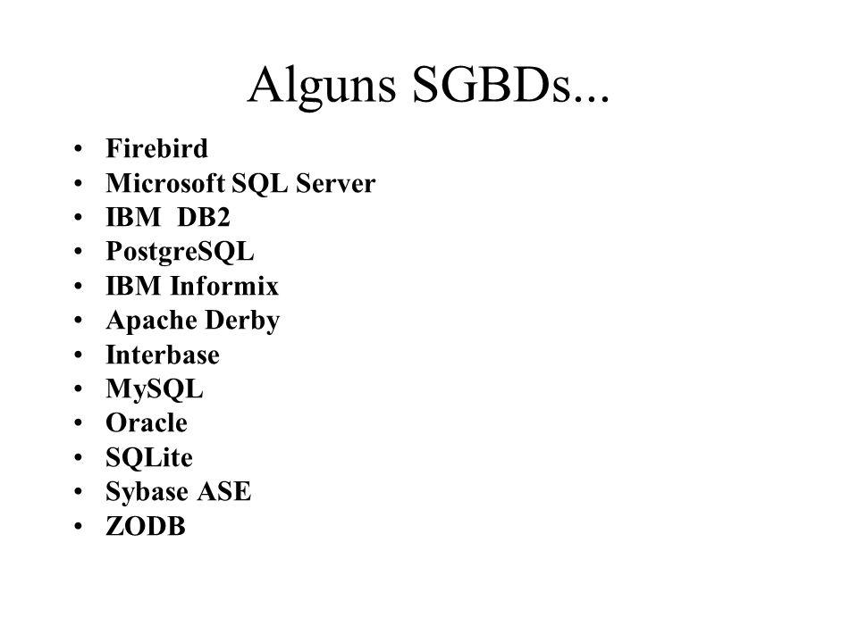 Alguns SGBDs... Firebird Microsoft SQL Server IBM DB2 PostgreSQL