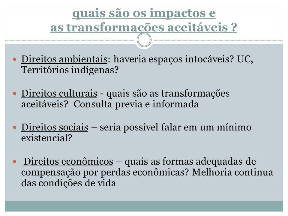 quais são os impactos e as transformações aceitáveis