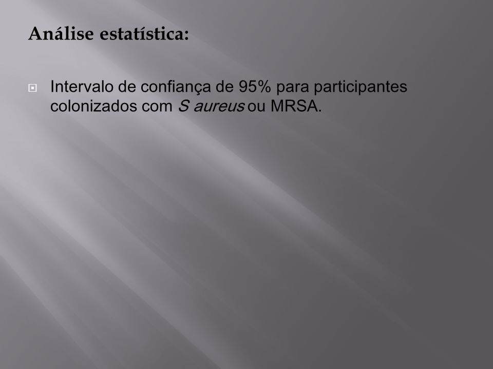 Análise estatística: Intervalo de confiança de 95% para participantes colonizados com S aureus ou MRSA.