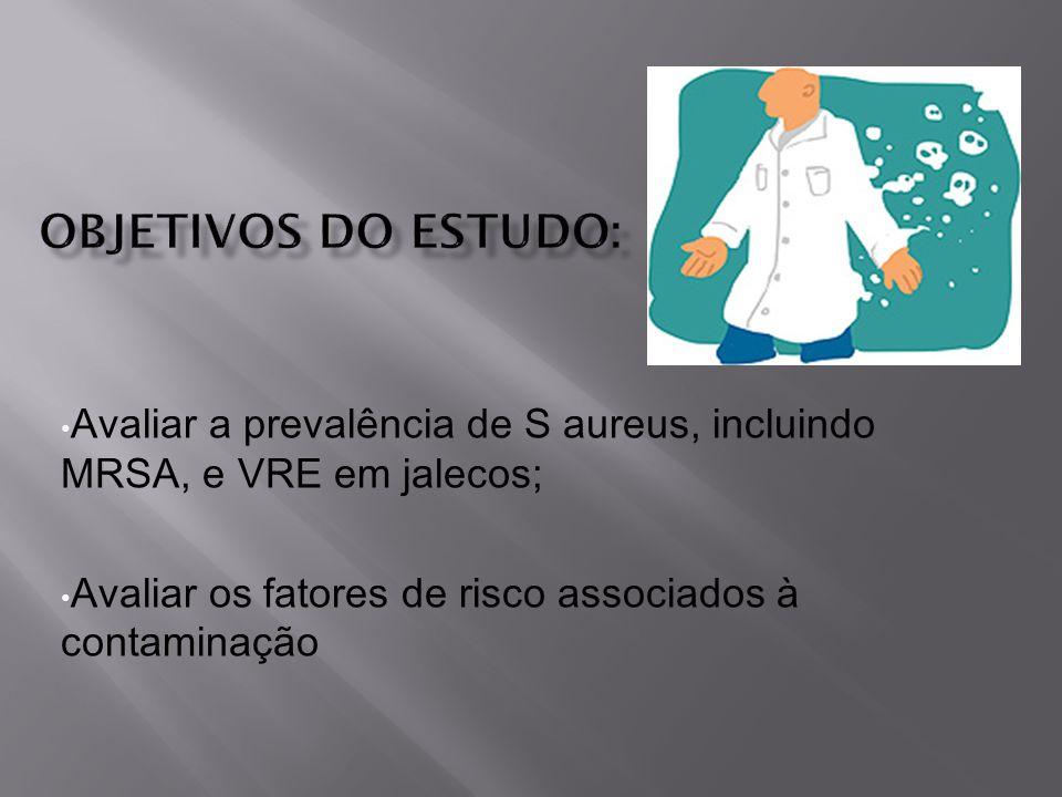 Objetivos do estudo: Avaliar a prevalência de S aureus, incluindo MRSA, e VRE em jalecos; Avaliar os fatores de risco associados à contaminação.