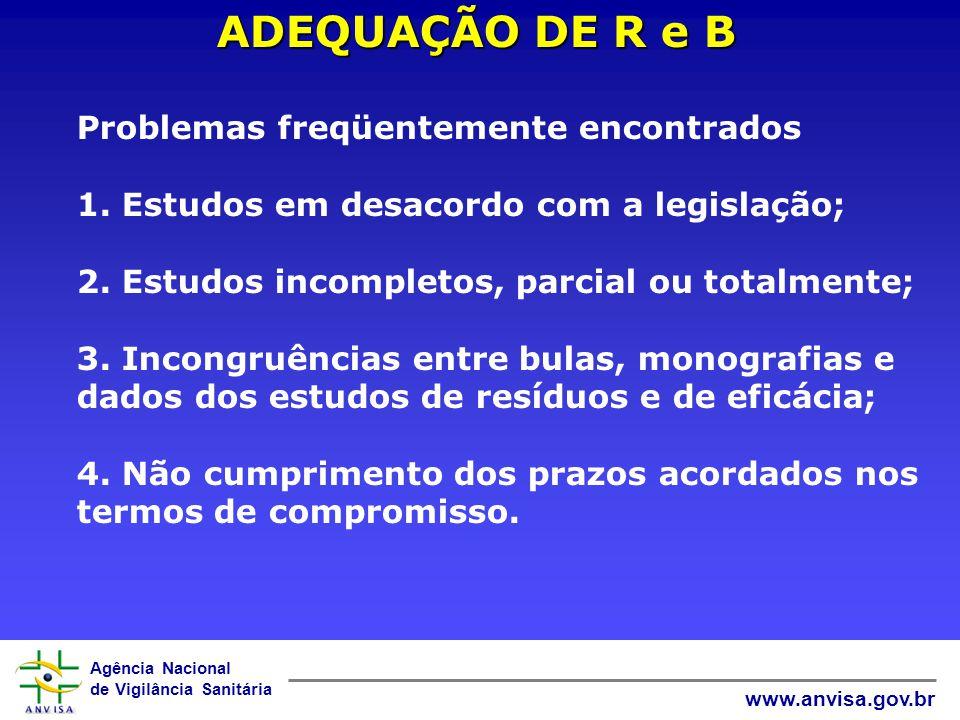 ADEQUAÇÃO DE R e B Problemas freqüentemente encontrados