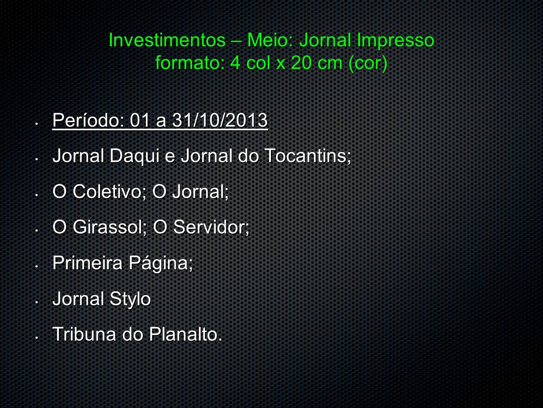 Investimentos – Meio: Jornal Impresso formato: 4 col x 20 cm (cor)