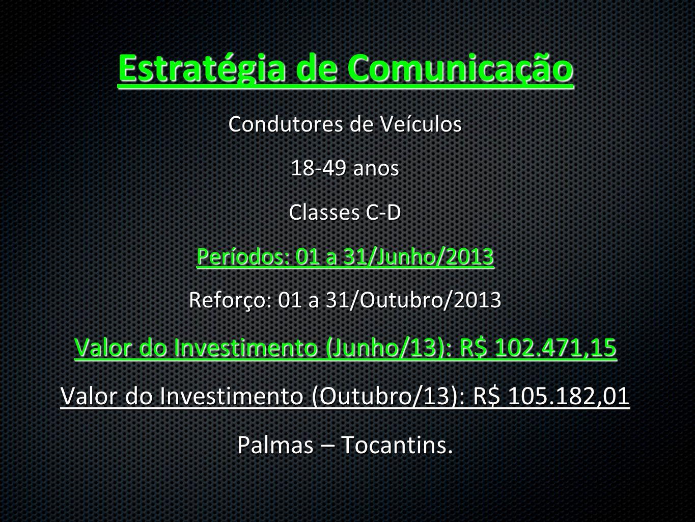 Estratégia de Comunicação Condutores de Veículos 18-49 anos Classes C-D Períodos: 01 a 31/Junho/2013 Reforço: 01 a 31/Outubro/2013 Valor do Investimento (Junho/13): R$ 102.471,15 Valor do Investimento (Outubro/13): R$ 105.182,01 Palmas – Tocantins.