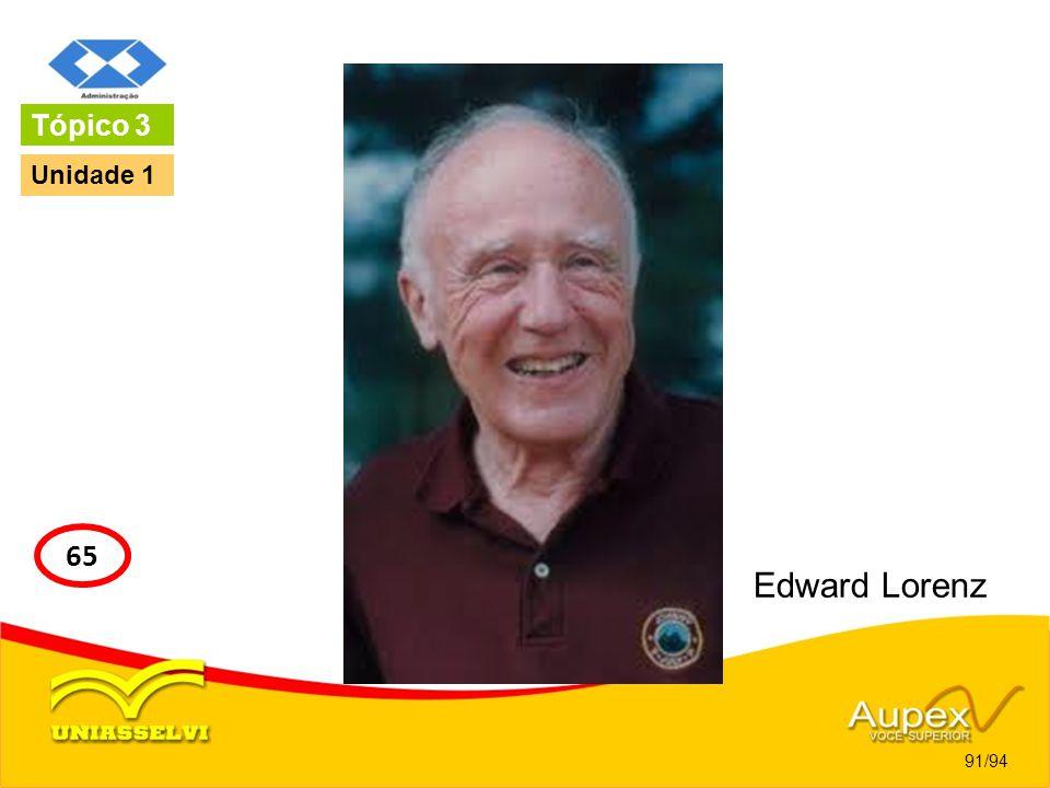 Tópico 3 Unidade 1 65 Edward Lorenz 91/94