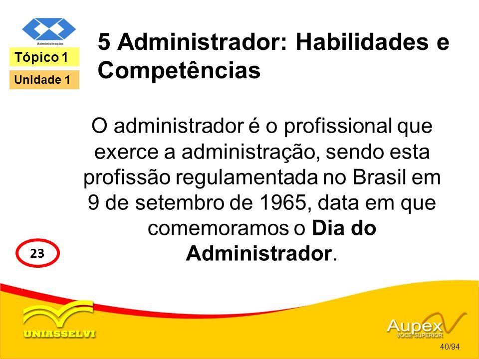 5 Administrador: Habilidades e Competências