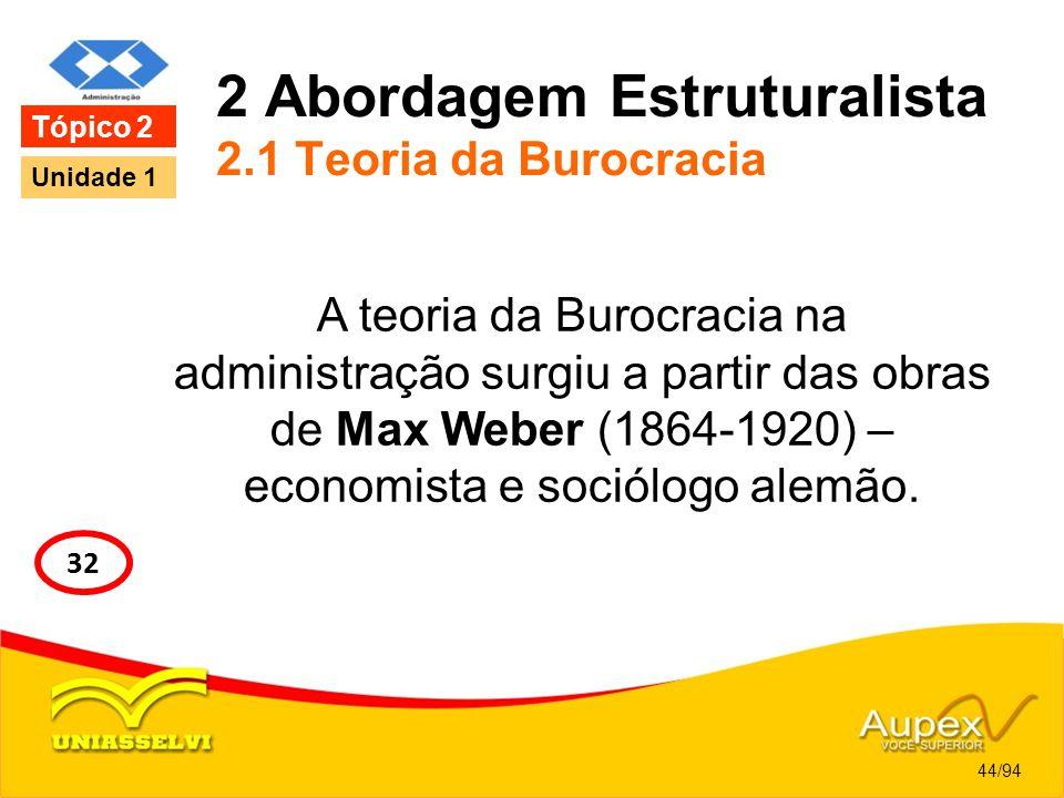 2 Abordagem Estruturalista 2.1 Teoria da Burocracia
