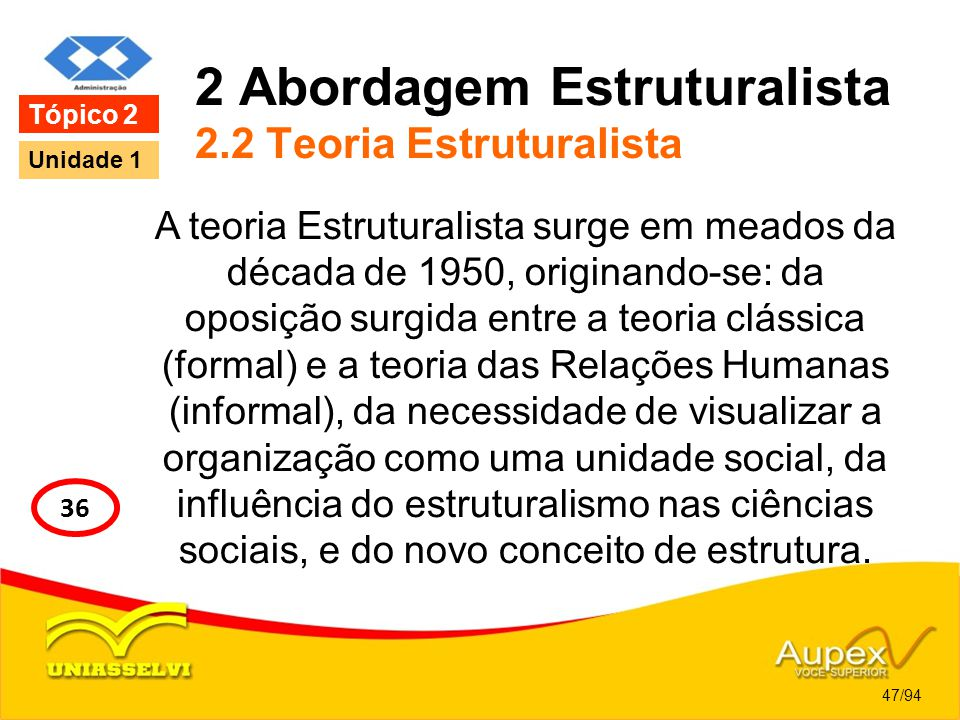 2 Abordagem Estruturalista 2.2 Teoria Estruturalista