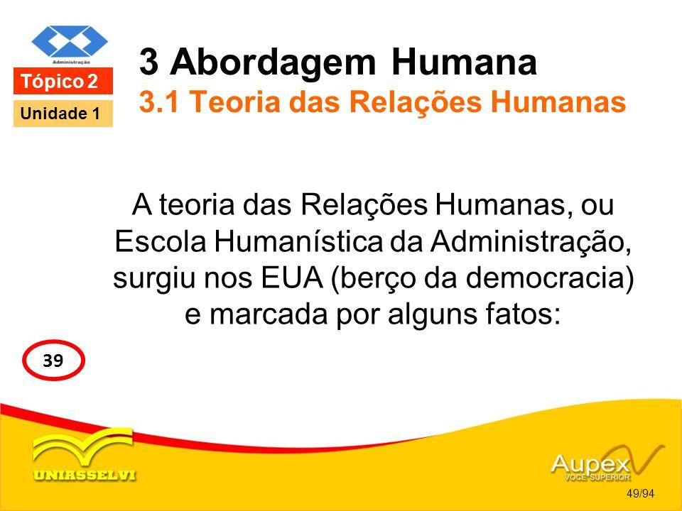 3 Abordagem Humana 3.1 Teoria das Relações Humanas