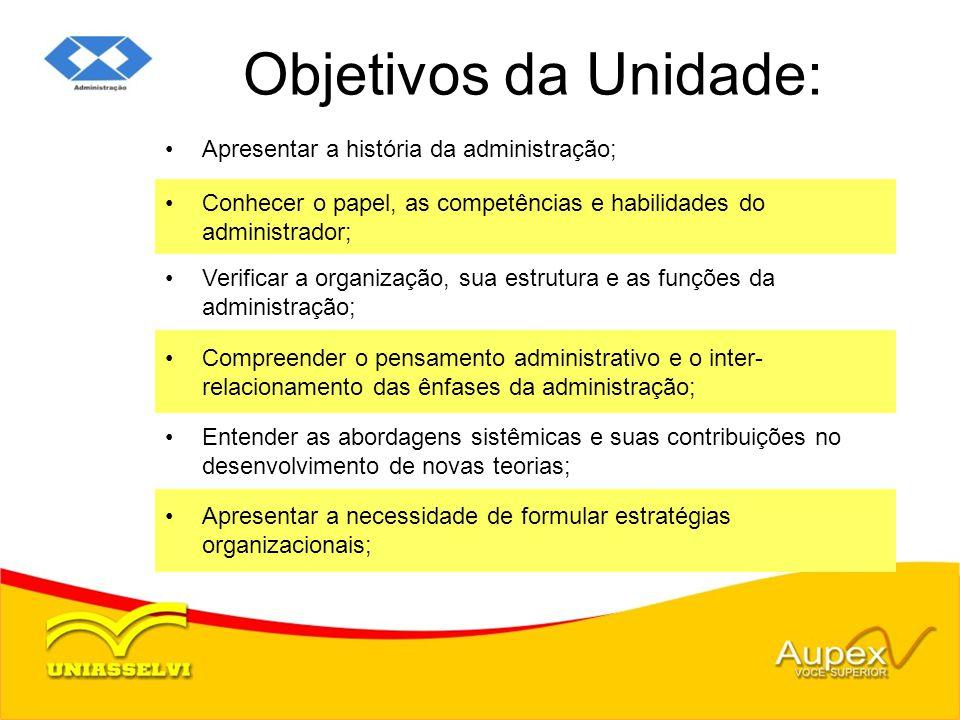 Objetivos da Unidade: Apresentar a história da administração;