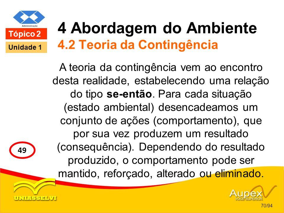 4 Abordagem do Ambiente 4.2 Teoria da Contingência