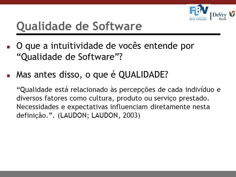 Qualidade de Software O que a intuitividade de vocês entende por Qualidade de Software Mas antes disso, o que é QUALIDADE
