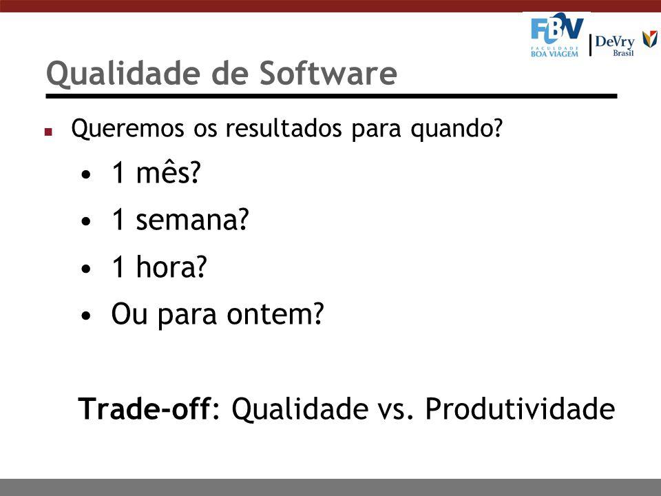 Qualidade de Software 1 mês 1 semana 1 hora Ou para ontem