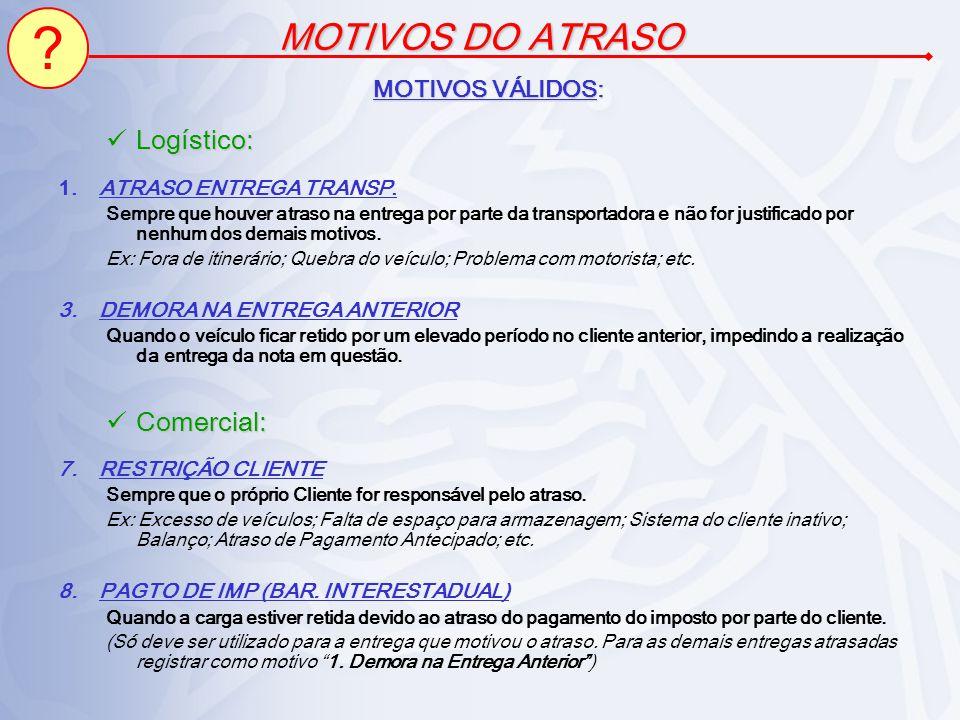 MOTIVOS DO ATRASO Logístico: Comercial: MOTIVOS VÁLIDOS: