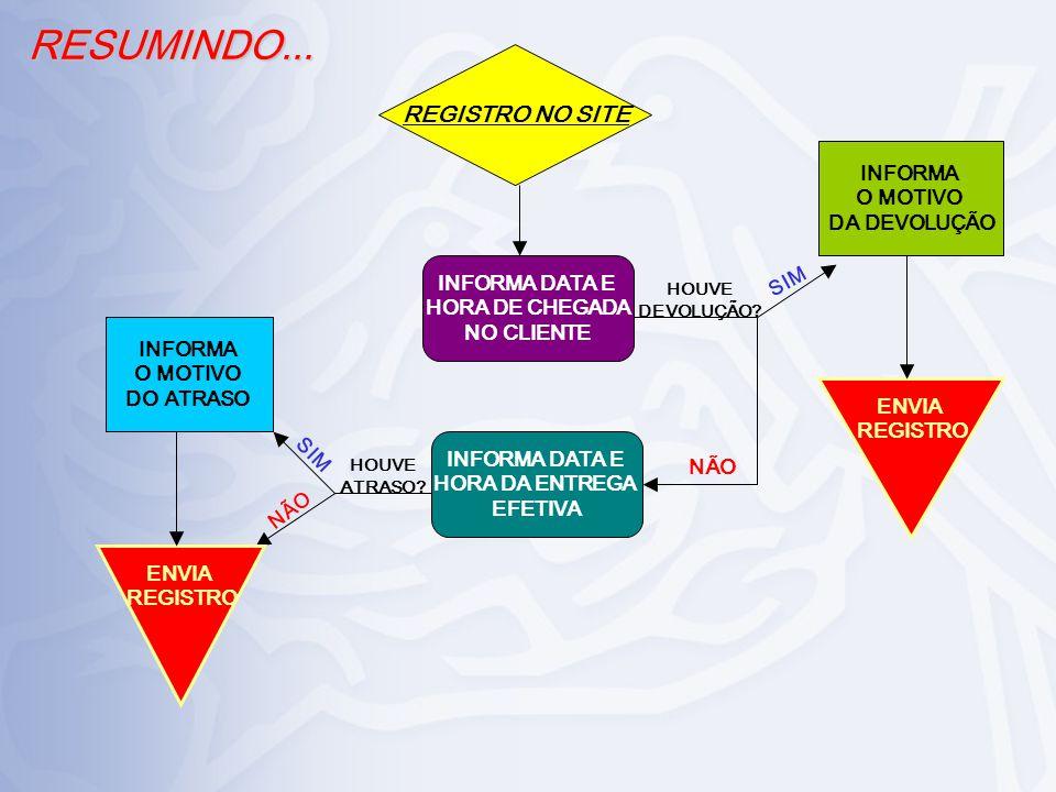 RESUMINDO... REGISTRO NO SITE INFORMA O MOTIVO DA DEVOLUÇÃO