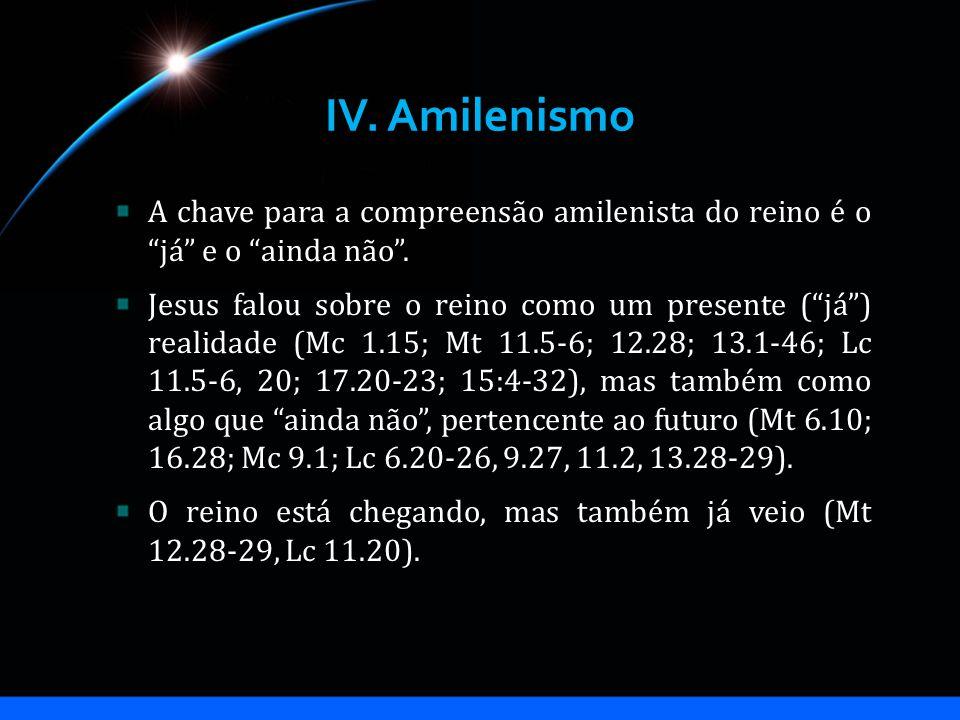 IV. Amilenismo A chave para a compreensão amilenista do reino é o já e o ainda não .
