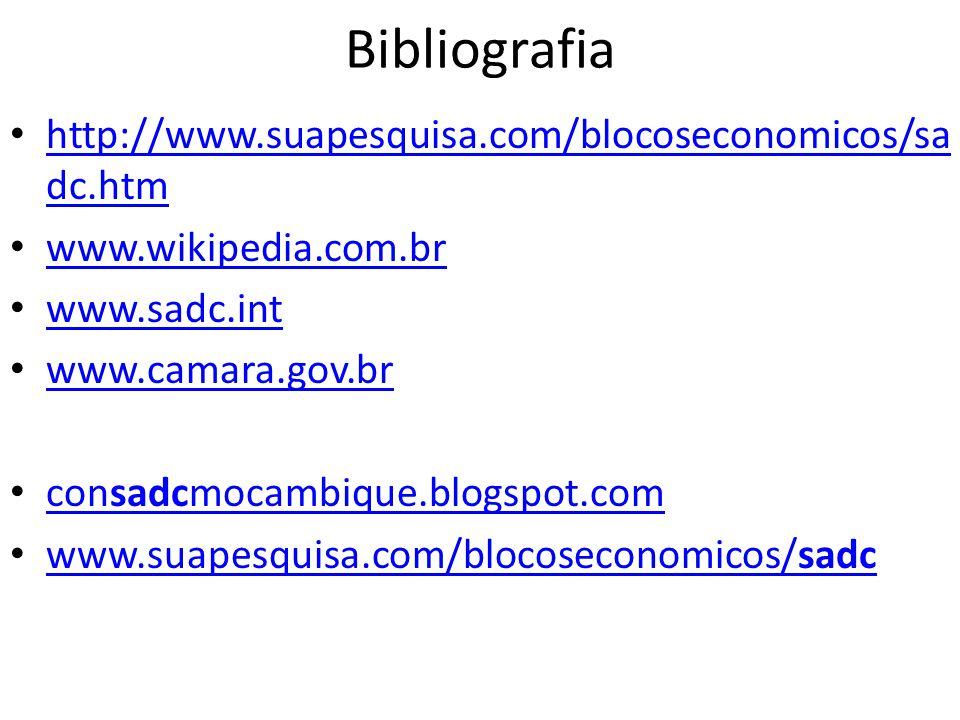 Bibliografia http://www.suapesquisa.com/blocoseconomicos/sadc.htm