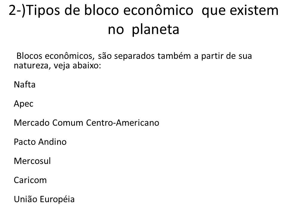 2-)Tipos de bloco econômico que existem no planeta