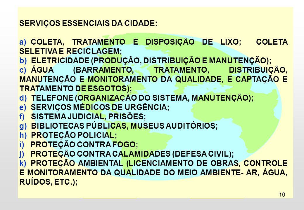 SERVIÇOS ESSENCIAIS DA CIDADE:
